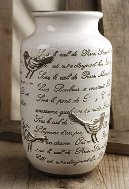 French Song Bird Crackle Glaze Vases, Mothers Day Special