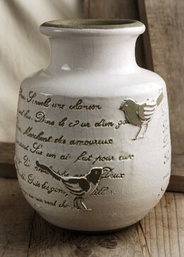 French Song Birds Crackle Glaze Jug