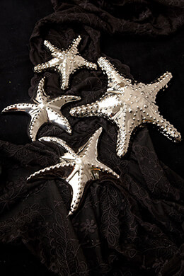 Ceramic Starfish Silver (Set of 4)