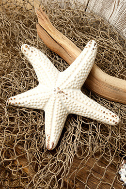 Ceramic Starfish Distressed Cream 7in