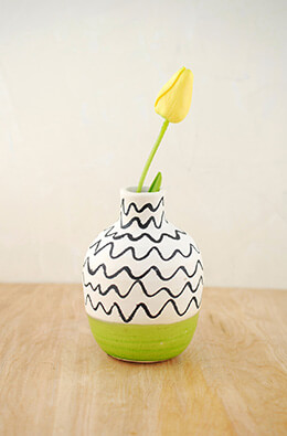 Ceramic Vase Green and White 6in