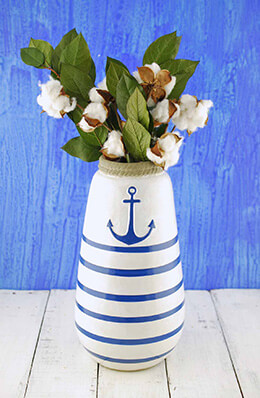 Ceramic Hand Painted Anchor Nautical Vase 12""