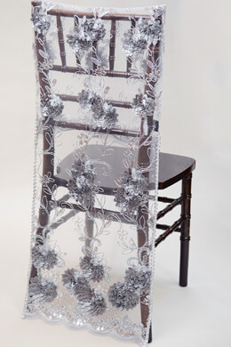 Chiavari Chair Covers-  Silver Floral