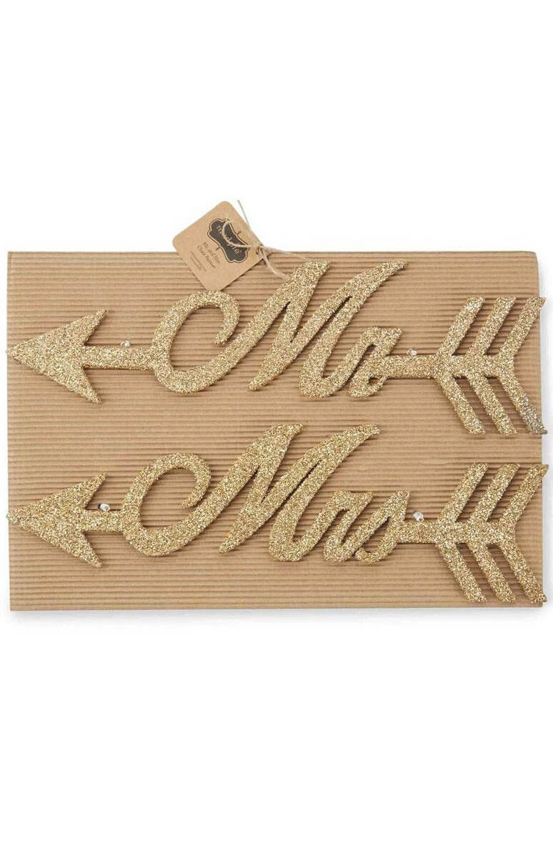 Mud Pie Mr & Mrs Gold Glitter Wedding Signs