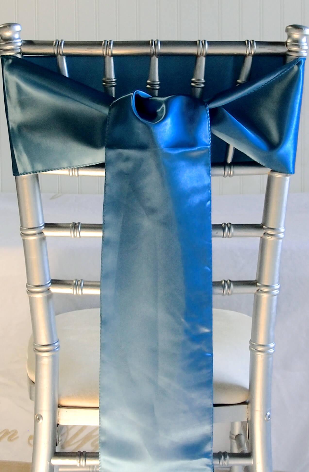 10 Teal Blue Satin Chair Sashes  6x106