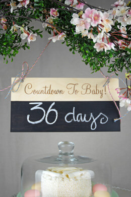 COUNTDOWN TO BABY  6x12 Chalkboard Sign