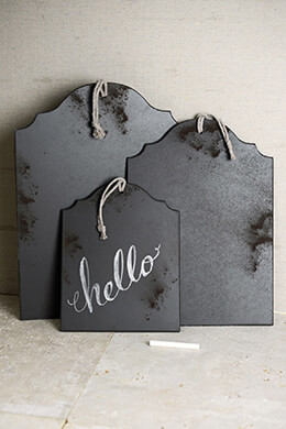 3 Large Tag Shaped Wood Chalkboards