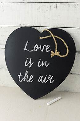 Wood Heart Chalkboard  12""