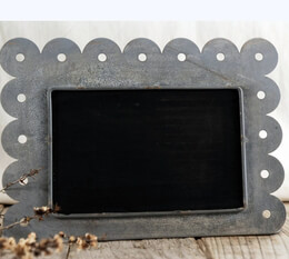 Chalkboard with Scalloped Edge Zinc Frame (10.5in x 7.5in)