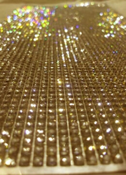 Rhinestone Sticker Sheet Gold 10in