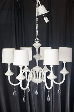 Chandelier with Shades White 24in
