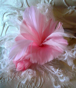 Chantal Coral Pink Fascinator Feather Flower with Curly Ostrich