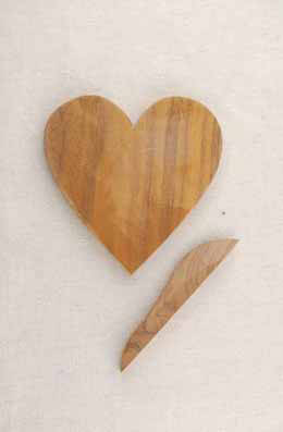 Handmade Heart Walnut Cheese Board w/ Knife 5.5in