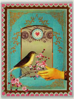 Cherry Blossom Bird Magnet