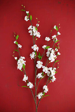 White Silk Cherry Blossom Branches 39""