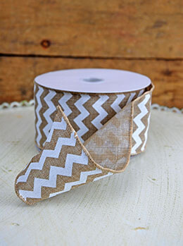 Burlap & White Chevron Ribbon 2.5in x 24ft