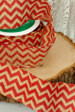 Burlap Red Chevron Ribbon 2.5in x 10yds Wired