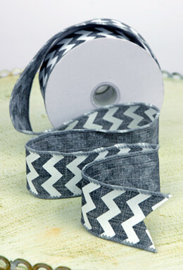 Chevron  Gray & White Wired Ribbon 1.5in x 10yd