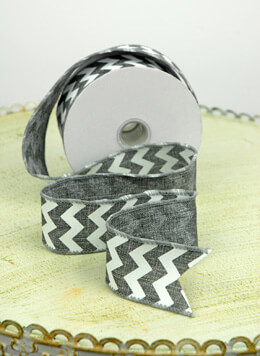 Chevron Ribbon White 1.5in x 10yd