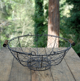 Chicken Wire Basket with Handles Brown 13in