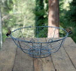Chicken Wire Basket with Handles Gray 13in