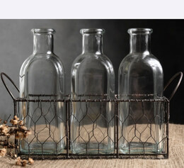 Chicken Wire Basket with Three Milk Bottles