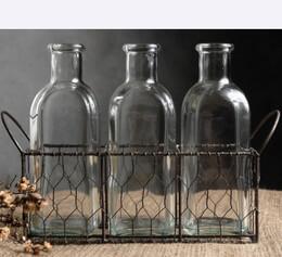 Chicken Wire Basket with Milk Bottles|3 Bottles