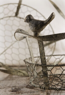 Chicken Wire Baskets with Bird Handles (Set of 2)