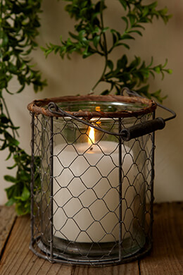 Chicken Wire Candle Holder 7in