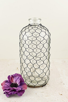 Chicken Wire Covered Glass Bottle 9-3/4""