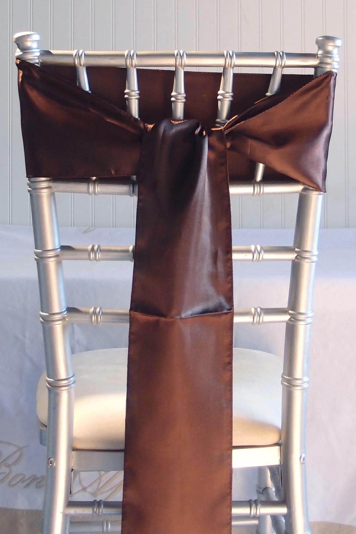 10 Brown Satin Chair Sashes 6x106