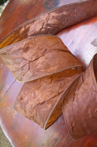 Crinkled Satin Crepe Brown Ribbon