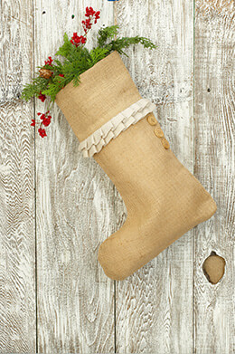 Stocking Burlap with White Ruffle 13x20