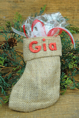 Christmas Stocking Gift Bags Burlap 6in (Pack of 12)
