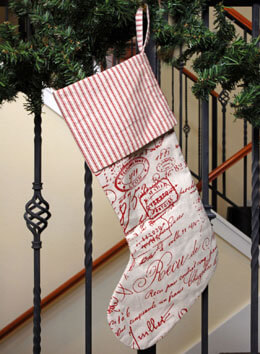 Linen Christmas Stocking with Red Script 20in