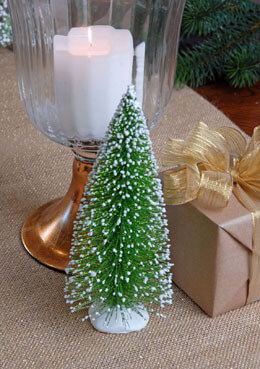 Snowy Bottle Brush Christmas Tree 8in
