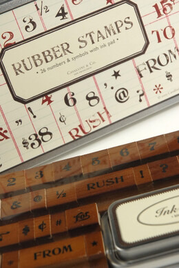 Rubber Stamps Numbers & Symbols (26 stamps) Cavallini & Co.