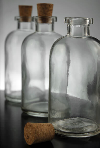 Clear Glass Apothecary Bottles with Cork Top 8 oz (Case of 12)