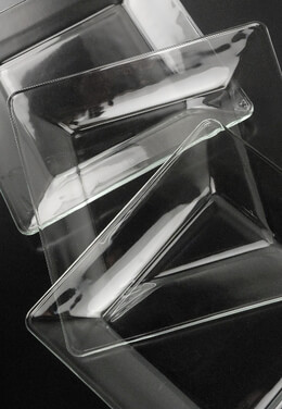 Clear Glass Base Plates Square Libbey Tempo (12 plates)