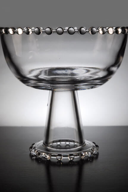 Clear Glass Beaded Edge Compote