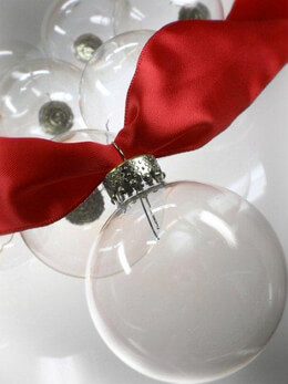 "10 - 50mm / 2"" Clear Glass Ornament Balls Silver Tops"