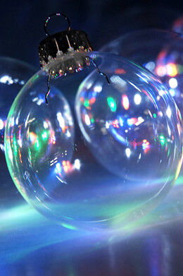 10 Clear Glass 2-3/8in Ornament Balls Silver Tops 60mm