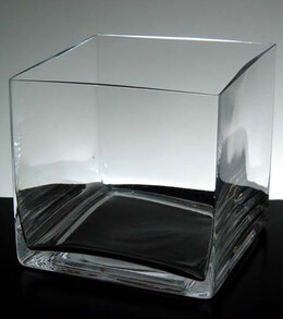 "Square Vase Clear Glass 6"" Square"