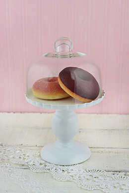 Cloche Dessert Stand White 9.5in
