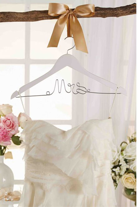 Wedding dress hanger mrs burlap bow for Mrs hangers wedding dress