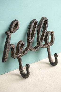 """Hello"" Rustic Iron Coat Hook"