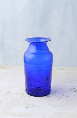 Cobalt Blue Glass Vase 5.25in