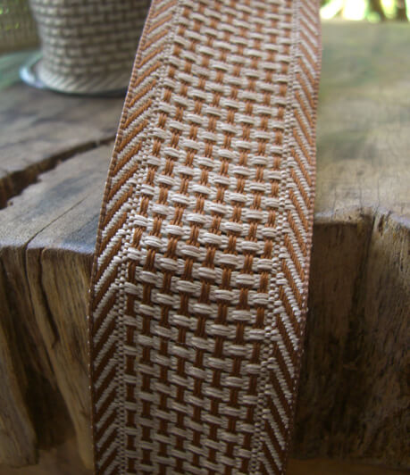 "Cocoa Brown & Beige Woven Ribbon 1-1/2"" width x 9 yds"