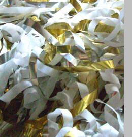 Confetti Mylar Metallic Streamers Gold, Silver & White 12 foot (6 throw cups)