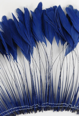 "Coque Feathers Blue Stripped 6-8"" tall 12"" Strung Length"